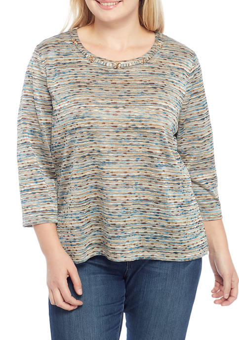 Alfred Dunner Plus Size Space Dye Knit Top