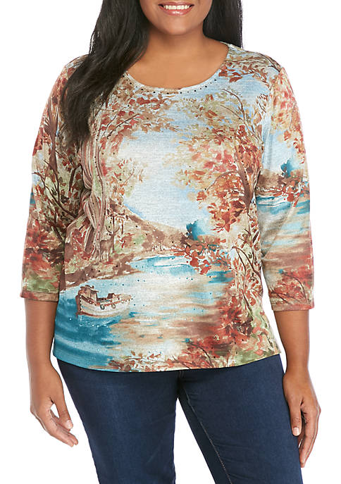 Alfred Dunner Plus Size Scenic Knit Top