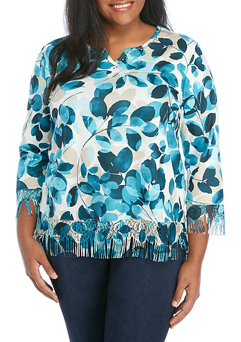 Alfred Dunner Plus Size Leaf Print Knit Top