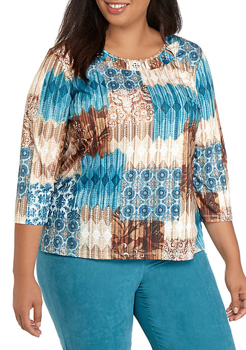 Alfred Dunner Plus Size Medallion Patchwork Knit Top