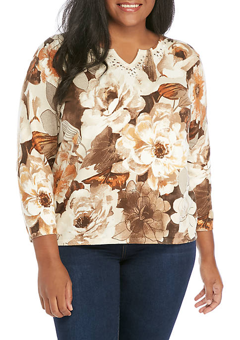 Alfred Dunner Plus Size Etched Floral Sweater