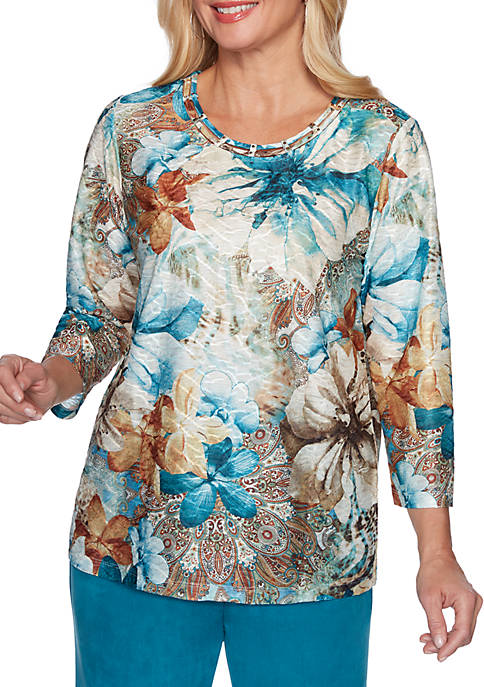 Alfred Dunner Petite Walnut Grove Texture Floral Knit