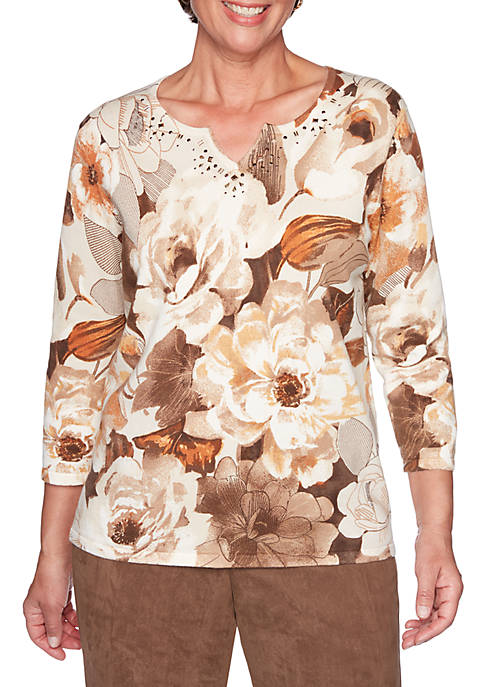 Alfred Dunner Petite Walnut Grove Etched Floral Sweater