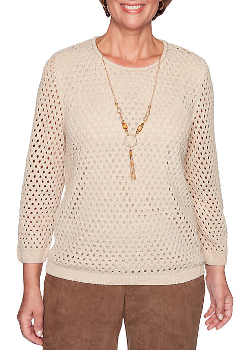Alfred Dunner Petite Walnut Grove Pointelle Sweater with