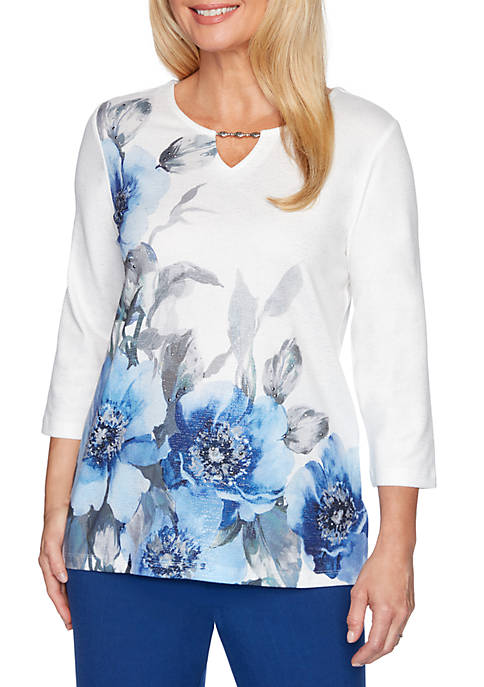 Alfred Dunner Womens Sapphire Skies Placement Floral Knit