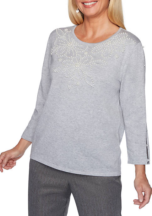 Alfred Dunner Sapphire Skies Applique Open Sleeve Sweater