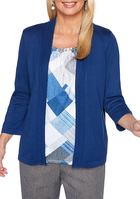 Alfred Dunner Sapphire Skies Geometric Print 2Fer Sweater