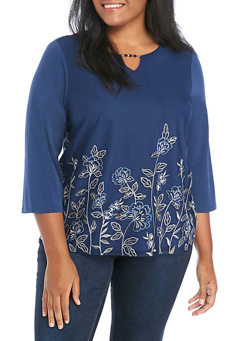 Alfred Dunner Plus Size Floral Mesh Border Knit