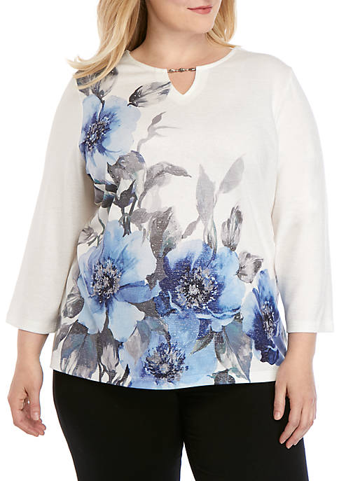 Plus Size Sapphire Skies 3/4 Sleeve Floral Shimmer Knit Top