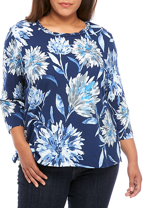 Alfred Dunner Plus Size Short Sleeve Dramatic Floral