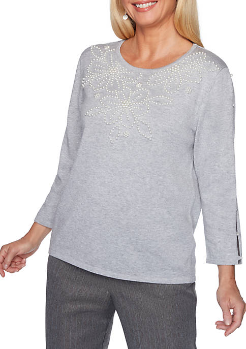 Alfred Dunner Petite Sapphire Skies Pearl Yoke Sweater