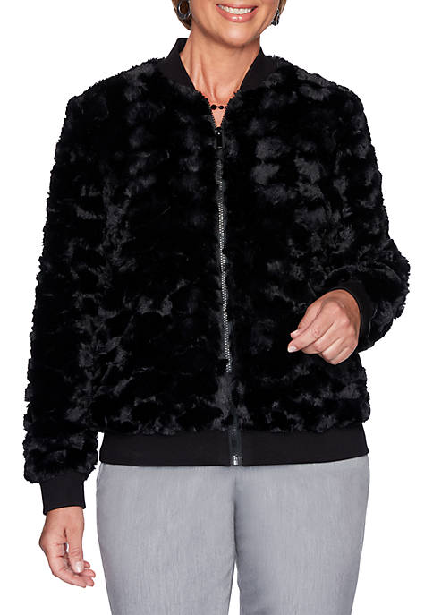 Alfred Dunner Well Red Faux Fur Zip Front