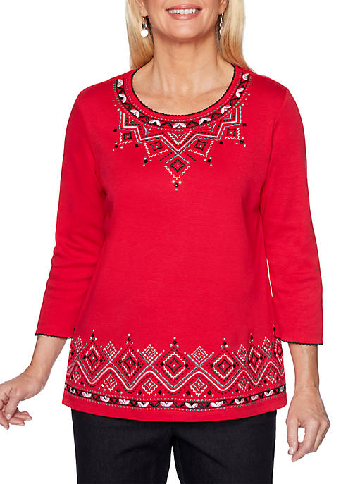 Alfred Dunner Well Red Embroidered Crew Neck Knit