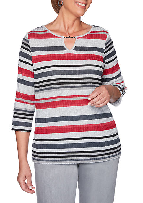 Alfred Dunner Well Red Striped Knit Top