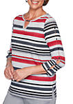 Well Red Striped Knit Top