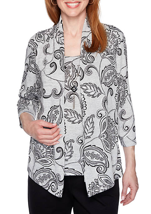 Alfred Dunner Womens Scroll Print 2Fer Knit Top