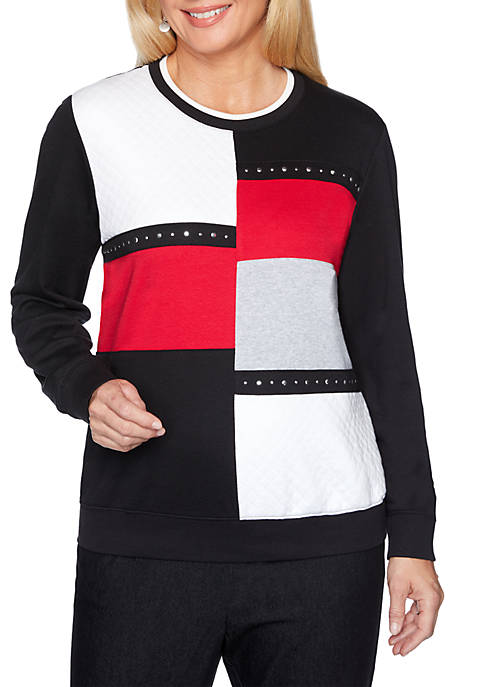 Alfred Dunner Well Red Color Block Sweatshirt