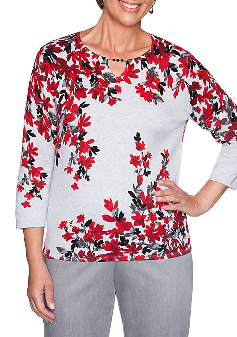 Alfred Dunner Well Red Fall Flowers Sweater