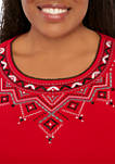 Plus Size Diamond Embroidered Boarder Knit Top