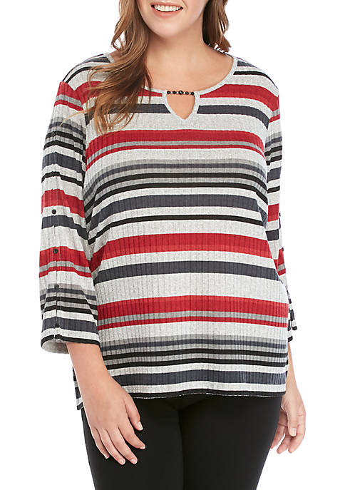 Alfred Dunner Plus Size Stripe Melange Knit Top