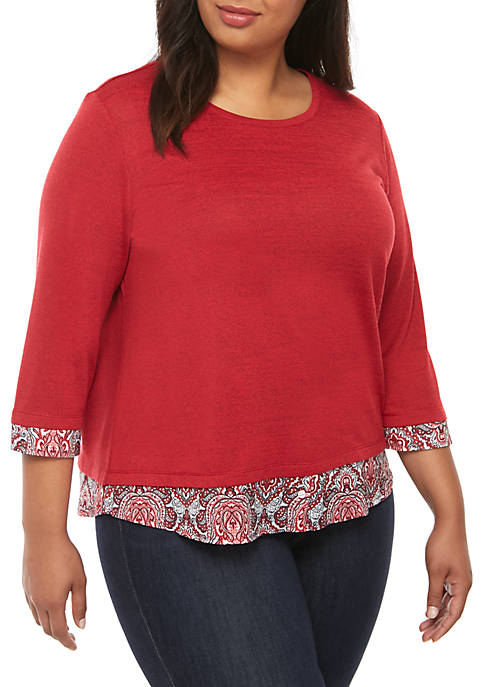 Alfred Dunner Plus Size Knit 2Fer Top with