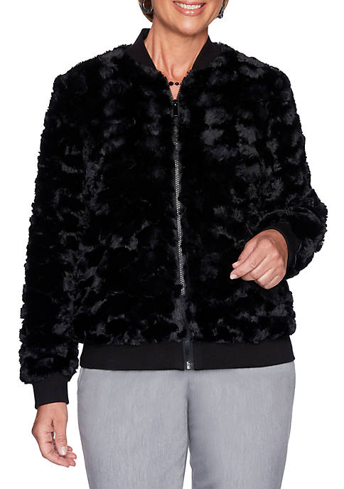 Alfred Dunner Petite Well Red Faux Fur Zip