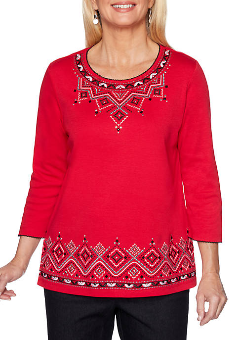 Alfred Dunner Petite Well Red Diamond Embroidered Border