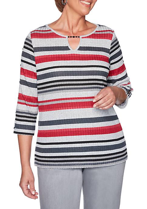 Alfred Dunner Petite Well Red Melange Stripe Knit