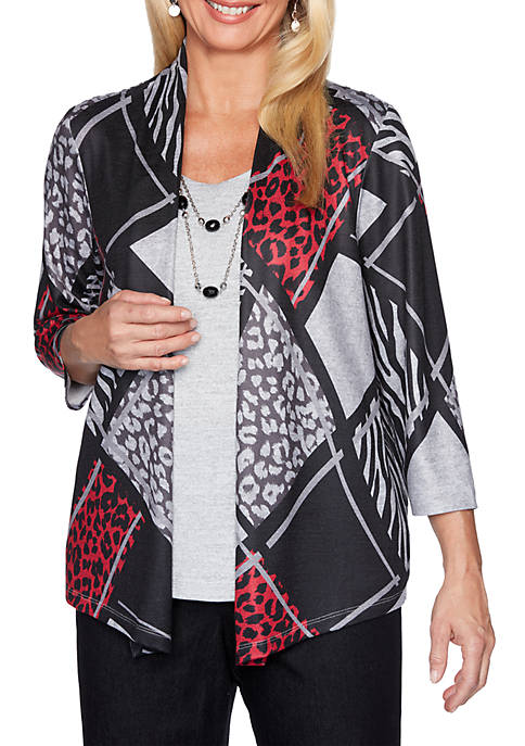 Alfred Dunner Petite Well Red Animal Patchwork 2Fer
