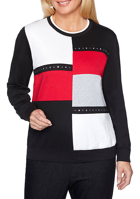 Alfred Dunner Petite Well Red Color Block Knit