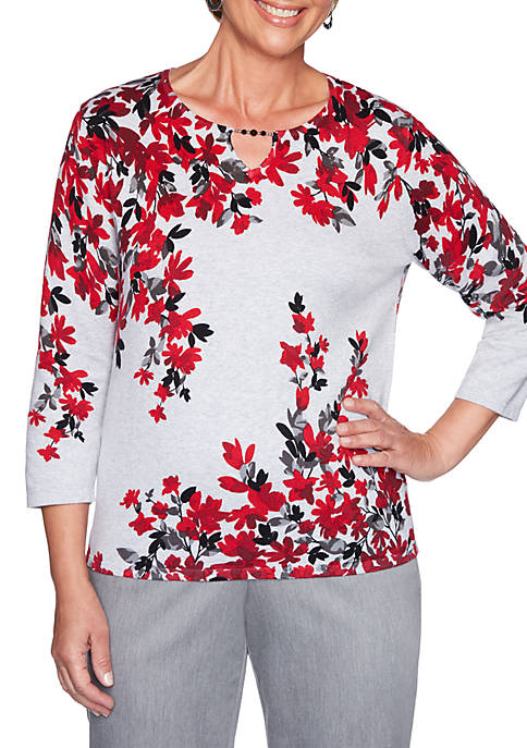 Alfred Dunner Petite Well Red Fall Flowers Sweater