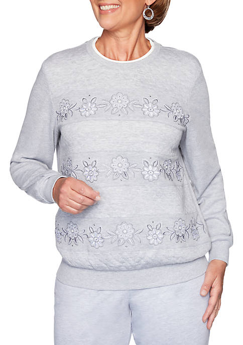 All About Ease Floral Embroidered Sweatshirt