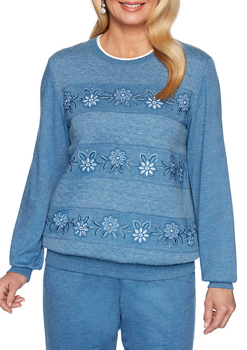 Alfred Dunner All About Ease Floral Embroidered Sweatshirt