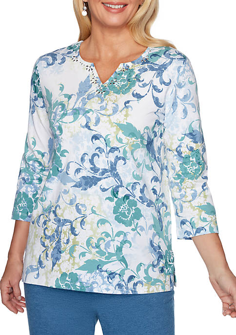 Alfred Dunner All About Ease Scroll Floral Knit