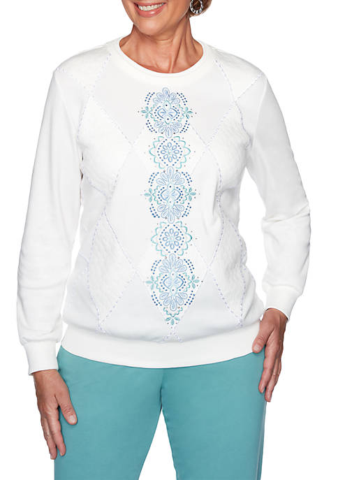 All About Ease Center Embroidered Sweatshirt