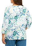 Plus Size All About Ease Scroll Floral Knit Top