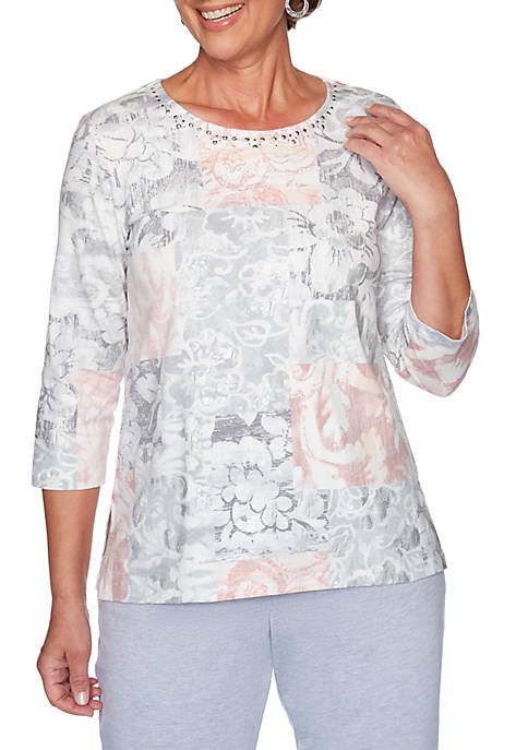 Alfred Dunner Petite All About Ease Floral Patchwork