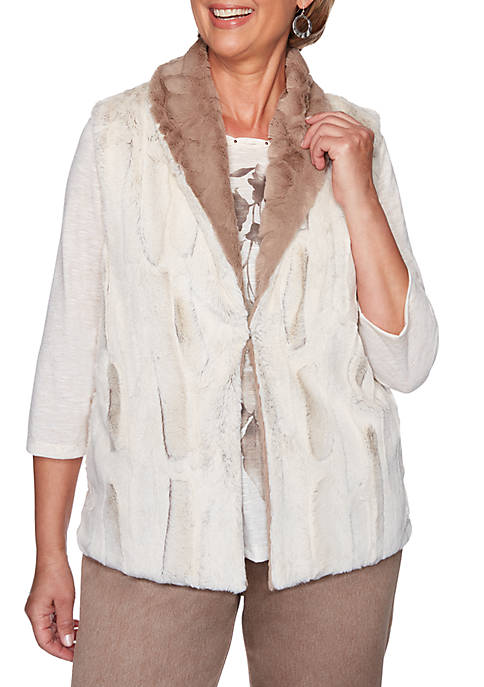 Alfred Dunner First Frost Reversible Fur Jacket