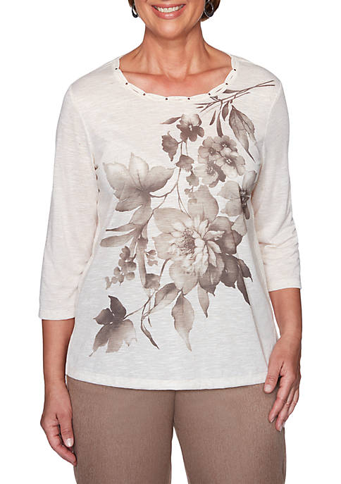 Alfred Dunner First Frost Asymmetric Floral 3/4 Sleeves