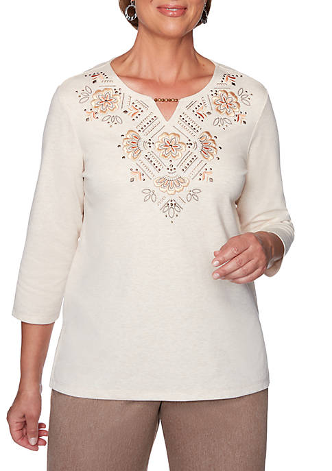 Alfred Dunner First Frost Embroidered Yoke Knit Top