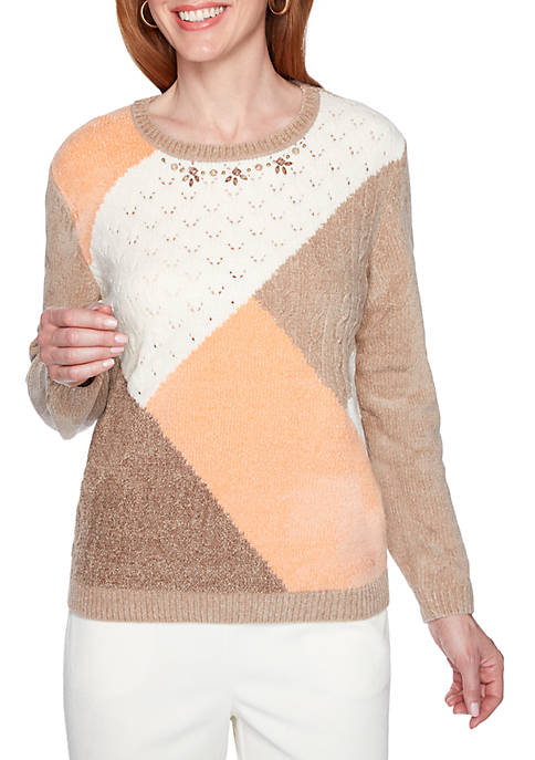 Womens Color Block Embellished Sweater
