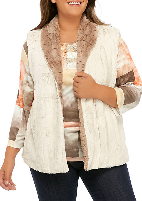 Alfred Dunner Plus Size First Frost Reversible Fur