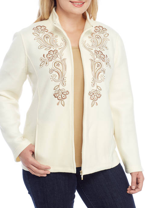 Alfred Dunner Plus Size First Frost Solid Embroidered