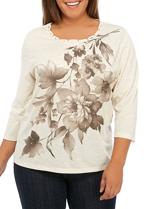Alfred Dunner Plus Size First Frost Asymmetrical Floral