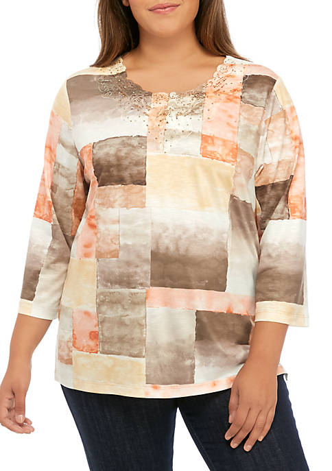 Alfred Dunner Plus Size First Frost Patchwork Watercolor