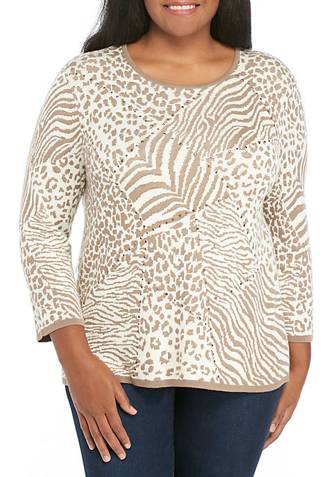 Alfred Dunner Plus Size Animal Jacquard Sweater