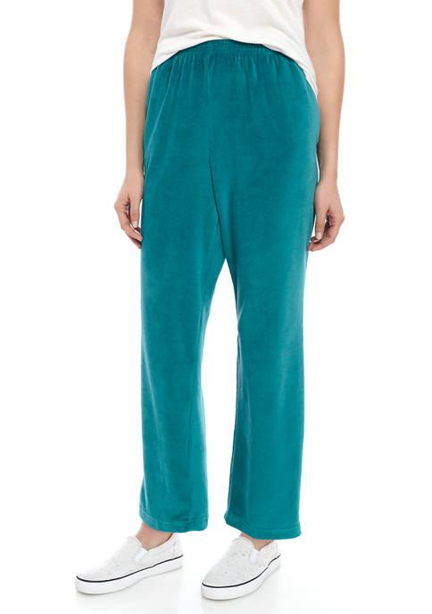 Alfred Dunner Womens Short Pull On Velour Pants