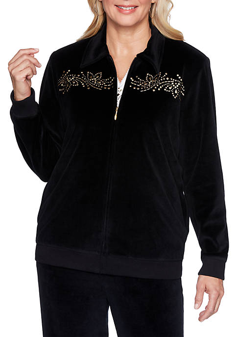 Alfred Dunner Bright Idea Embroidered Velour Jacket