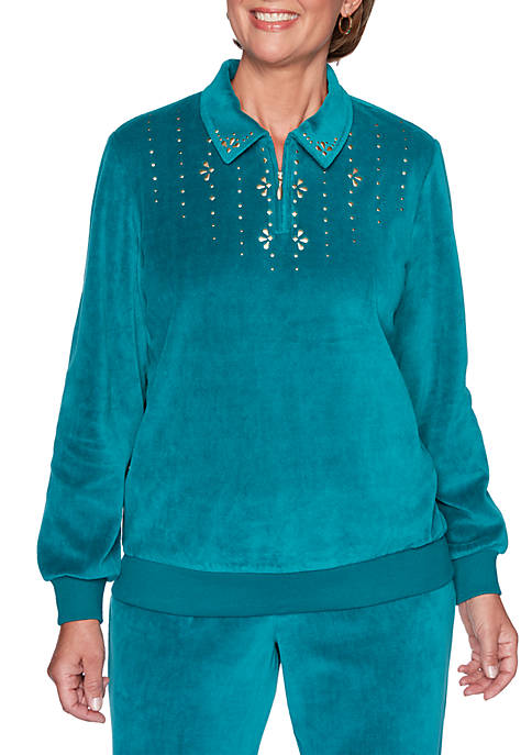 Bright Idea Embellished 1/2 Zip Velour Top