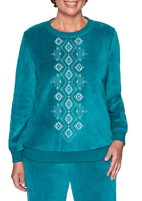 Bright Idea Center Embroidery Velour Top